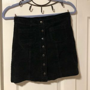 Black Corduroy Brandy Melville Button Up Skirt